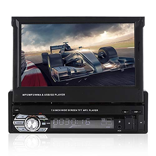 Single DIN Android In Dash Car Stereo Radio, 7 Pulgadas Bluetooth retráctil Reproductor de Audio para automóvil GPS MP5 Pantalla táctil Enlace Espejo RDS Am Radio para automóvil