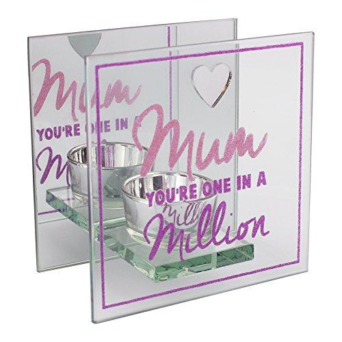 Maman vous êtes One in a Million Photophore en verre avec rose et violet paillettes