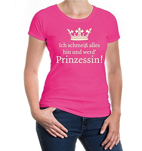 buXsbaum® Damen Kurzarm T-Shirt bedruckt Ich schmeiß alles hin und werd Prinzessin | Märchen Krönchen Sprüche | XXL fuchsia-beige Rosa