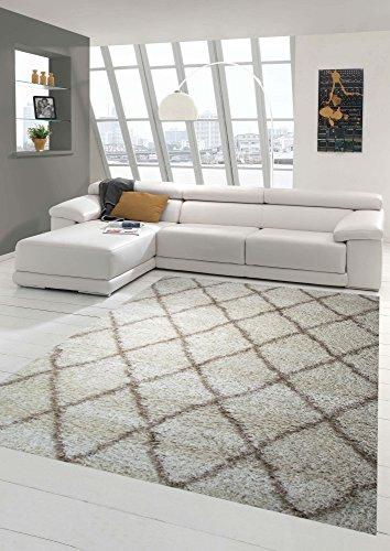 Shaggy Alfombra de la sala de estar Shaggy Patrón de diamante en crema beige Größe 200 x 290 cm