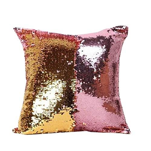 Capa de almofada de sereia VORCOOL com lantejoulas mágicas para almofada, sofá, sofá, capa de almofada