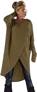 Womens Knit Sweater Irregular High Low Loose Sweatshirt Pullover Dress Long Tops Blouse