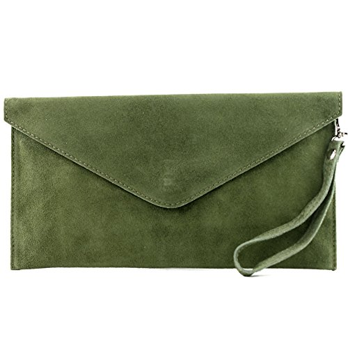 modamoda de - T106 - Bolso tipo Clutch de piel de ante, color Verde, talla Small