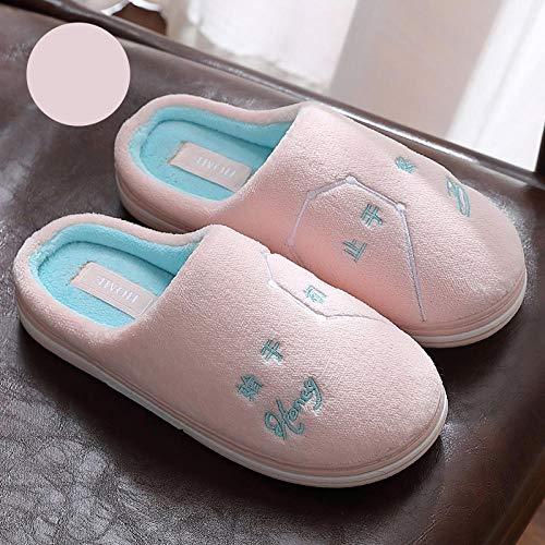 B/H Algodón Caliente Suave Antideslizante Slippers,Zapatillas de Felpa cálidas de Invierno, Zapatillas de algodón Antideslizantes para el hogar-B1_38-39,Mujer Hombres Slippers Suave