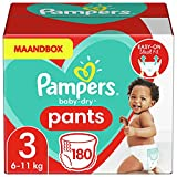 Pampers 81666563 pañal desechable Niño/niña 3 180 pieza(s) - Pañales desechables (Niño/niña, Pant diaper, 6 kg, 11 kg, Multicolor, 12 h)