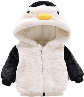 SUPEYA Baby Boys Girls Winter Fleece Coat Cartoon Penguin Hoodie Outerwear Jacket Kids Faux Fur Thicken Outwear Overcoat