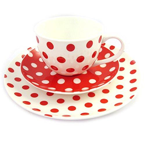 Les Trésors De Lily [M6782 - Tasse + Soucoupe + Assiette 'Petits Pois' Rouge Blanc