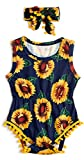 0-3 Months Newborn Baby Sunflower Graphics Tassel Romper Outfits Apparel Costume Set Shower Gift for Baby Girl Yellow Navy