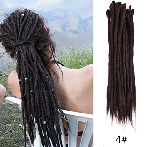 Aosome 20Inch 20pcs/pack Dreadlock Extensions 4# Handmade Synthetic Dreads Crochet Reggae Hair Extensions