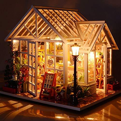 XIONGDA Edificio De Madera Casa De Muñecas Creativa para Niños con Luces LED 3D Rompecabezas Hecho A Mano Decoración del Hogar Kit De Artesanía Accesorios para Muebles De Casa De Muñecas