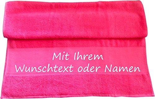 Druckreich Badetuch mit Ihrem Wunschtext oder Namen 140 x 70 cm/Fb. Pink