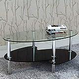 Cikonielf - Mesa de café de cristal templado con marco de metal - Mesa auxiliar de cristal negro para salón - 90 x 45 x 43 cm