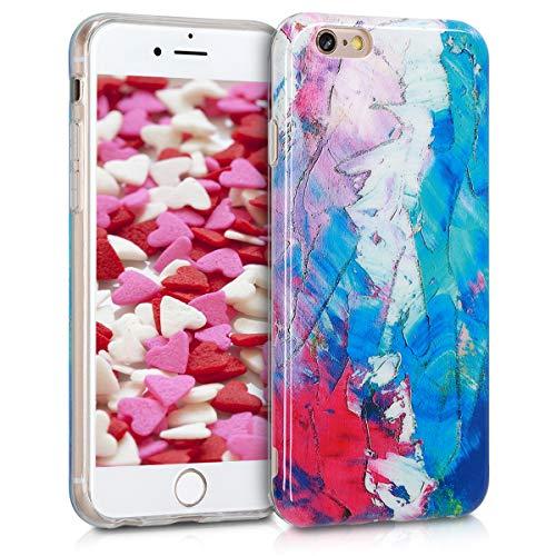 kwmobile Funda Compatible con Apple iPhone 6 / 6S - Carcasa de TPU y Manchas Colores en Azul/Rosa Fucsia/Blanco