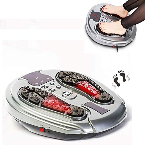 WLKQ Foot Massager, Medic Circulation Booster Muscle Stimulator for Feet and Legs Electromagnetic Foot Massager with Infrared 99 Electromagnetic Pulse 50 Massage Modes for Improves Blood Circulation
