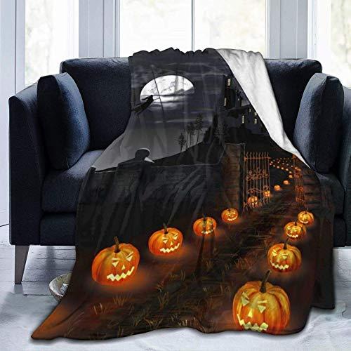 Manta ultra suave de forro polar, nubes, castillo, bruja, murciélagos, Halloween, calabazas, camino, farol, manta cálida para decoración del hogar para sofá o cama, 156 x 127 cm