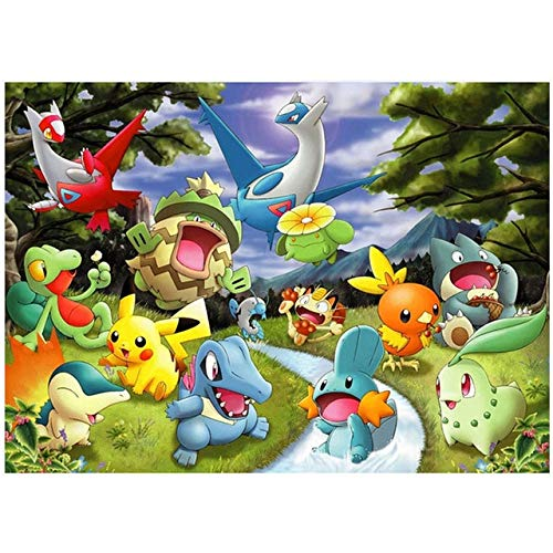 Realover 5D Bricolage Dessin animé Pokemon Diamant Peinture Point de Croix Diamant Broderie mosaïque Photos décor Cadeau (carré 40x50 cm)