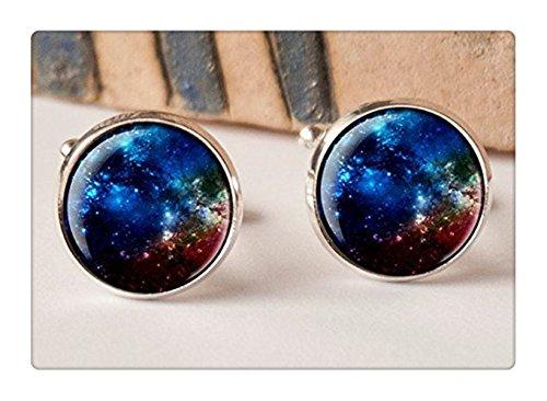 Bleu foncé nébuleuse boutons de manchette Liens, Galaxy, boutons de manchette Homme, Idée Cadeau, système solaire, mariage, boutons de manchette, Vint