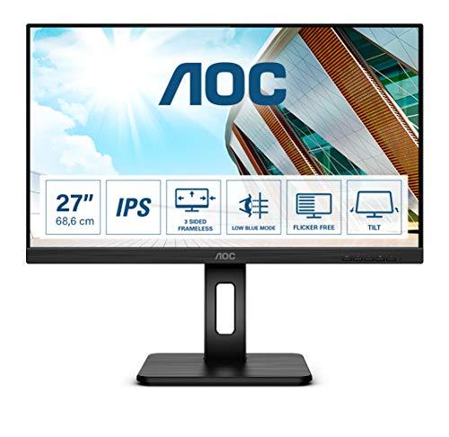 AOC Monitor Q27P2Q de 68 cm (27 Pulgadas) (HDMI, DisplayPort, hub USB, Tiempo de Respuesta de 4 ms, 2560 x 1440, 75 Hz, Pivo), Color Negro