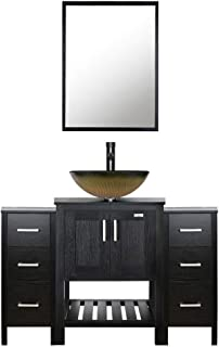eclife 48'' Bathroom Vanity Sink Combo Black W/Side Cabinet Vanity Round Tempered Glass Vessel Sink & 1.5 GPM Water Save Faucet & Solid Brass Pop Up Drain, With Mirror (A12B06 2B11)