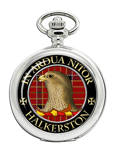Halkerston - Reloj de Bolsillo con Escudo del Clan escocés