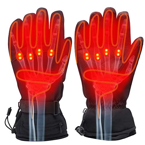 SVPRO Rechargeable Electric Battery Heated Gloves,Men&Women Outdoor Hiking Skiing Camping Cycling Motorcycling Warm Winter Gloves,Cold Weather Thermal Gloves Touchscreen Hand Warmer(Button)