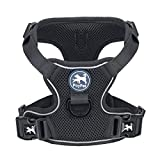 PoyPet Reflective Soft Breathable Mesh Dog Harness Choke-Free Double Padded Vest with Adjustable Neck and Chest(Black,M)