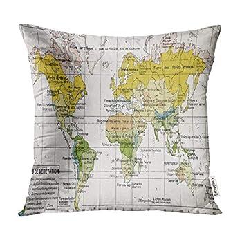 Emvency Decorative Throw Pillow Covers Vegetation Zones Old Map by Paul Vidal De Lablache Atlas Classique Librerie Colin Paris Pillowcase Cushion Cover Case Protectors Sofa 16x16 Inches Double Sided