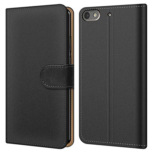Conie BW7667 Basic Wallet Kompatibel mit Huawei G Play Mini, Booklet PU Leder Hülle Tasche mit Kartenfächer & Aufstellfunktion für G Play Mini Case Schwarz