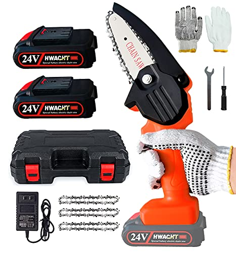 Mini Chainsaw Cordless,4-Inch Handheld Chain Saw Pruning Shears,Portable 24V Electric Battery Powered Chainsaw,Used for Tree Trimming and Branch Wood Cutting(3pcs Chain+2pcs Battery+Glove+Toolbox)