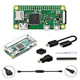 GeeekPi Raspberry Pi ZERO W Basic Starter Kit,Acrylic Raspberry Pi Zero W Case, 20Pin GPIO Header, OTG Cable, Switch Cable, HDMI Adapter, Heatsink and Screwdriver (Clear)