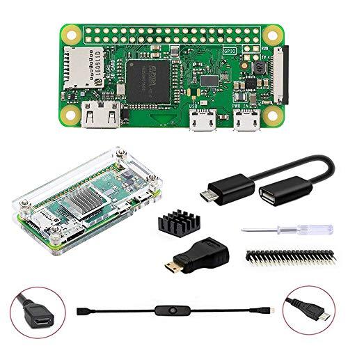 GeeekPi Raspberry Pi Zero W Kit básico, Caja acrílica Raspberry Pi Zero de 20 Pines GPIO, Cable OTG, Cable de Interruptor, Adaptador HDMI, disipador de Calor y Destornillador (Transparente)