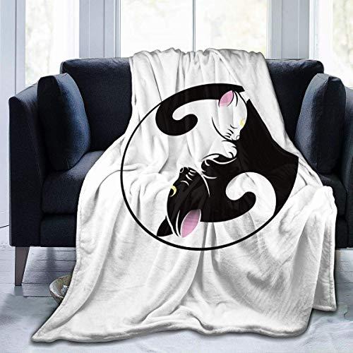 Juli Vector Yin en Yang Cat Print Flanellen Fleece Deken Gooi Ultra-Zacht Pluche Deken voor de herfst Winter
