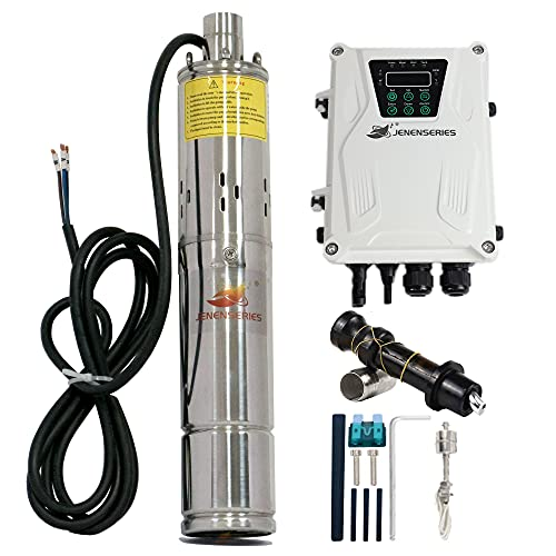 JENENSERIES Pump 500W DC 48V Solar Water Pumps, Max head 393ft,7.9GPM Flow,3 inch Solar deep well submersible Pumps with MPPT controller float switch kits for home or farm