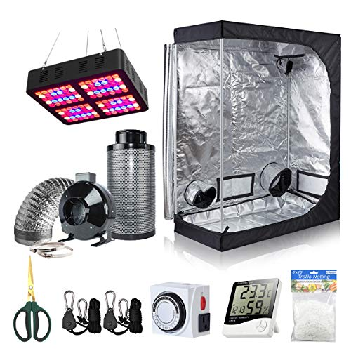 BloomGrow 48''x24''x60'' Grow Tent + 6'' Fan Filter Duct Combo + 600W LED Light + Hangers + Hygrometer + Shears + 24 Hour Timer + Trellis Netting Indoor Grow Tent Complete Kit