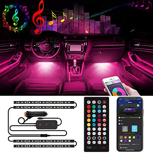 Interior Car LED Strip Lights Music Sync 60 LED - Dosocu RGB Automotive Atmosphere Lighting LED Neon Accent Light Under Dash Lighting Kits APP Remote Control with Car Charger DC 12V Inside Vehicle