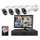 Jennov HD PoE Home Security Camera System with 4X Wired Outdoor PoE IP Cameras & Monitor,4 Channel HD NVR Security System w/ 1TB HDD for Home and Business 7/24 Recording Free App Remote View…