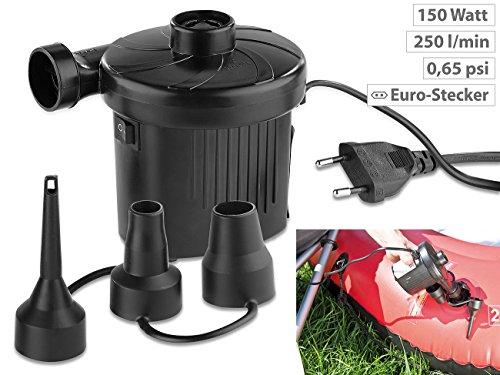 AGT Luftkompressor: Elektrische Schnell-Luftpumpe mit 3 Aufsätzen, für 230 V, 150 Watt (Elektrische Luftpumpen 230 Volt) - 2