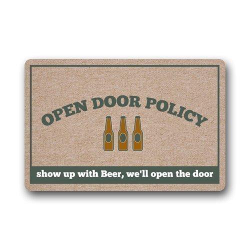 dingjiakemao Aangepaste Open Deur Beleid Show Up met Beer, We openen de Deur Binnen/Outdoor Vloer Mat Deurmat 23.6x15.7 inches/60 x 40cm