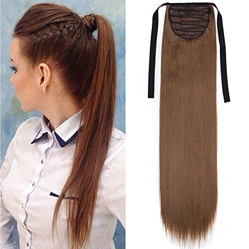 TESS Ponytail Extension Haarteil Pferdeschwanz Clip in Zopf Haarteil günstig Haarverlängerung Hellbraun Glatt 22