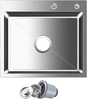 ROVOGO 18 Gauge 304 Stainless Steel Single Bowl Kitchen Sink, Drop-in Topmount 2-Hole Noise-Absorption Kitchen Sink with Drain Strainer, 21.6