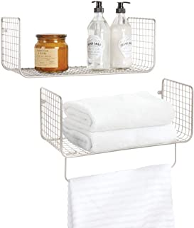 mDesign Metal Wire Farmhouse Wall Decor Storage Organizer Shelving Set - 1 Shelf with Towel Bar for Bathroom, Laundry Room, Kitchen, Garage - Wall Mount, 2 Pieces - Satin