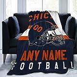 Custom Football C.B. Blanket Personalized Fleece Throw Blanket Name Number Gift for Football Fans