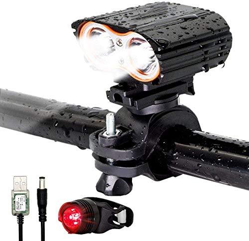 MEEY Bike Light Set USB Rechargeable Bike Light Front 2400LM Mountain Bike Lights IP65 Waterproof Bike Headlights 4 M.