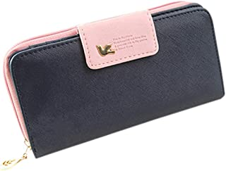 Luxurious Women's Faux Leather Card Holder Wallet Long Purse,Colour:Rose-red (Color : Dark Blue)