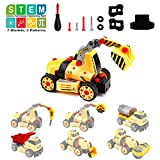 Amy&Benton Take-Apart Construction Vehicles Excavators Truck Toy, 7-in-1 Assemble Toy Cars, Construction Trucks Cars, Building Gift Toy for 3 4 5 Year Old Boys