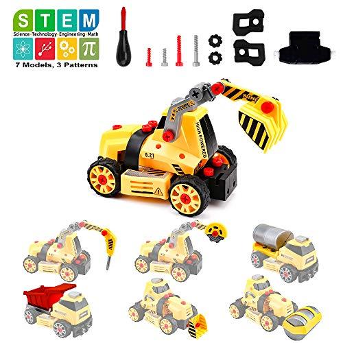 Amy & Benton Montage von Spielzeuglastwagen für Kinder Junge, 7 in 1 Bauingenieur Zerlegen Sie Fahrzeuge für 3 4 5 6-Jährige