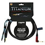 Klotz TIR0450PSP Titanium Guitar Cable with SilentPLUG, ¼-Inch Straight to Right Angle, 15ft, 15 ft