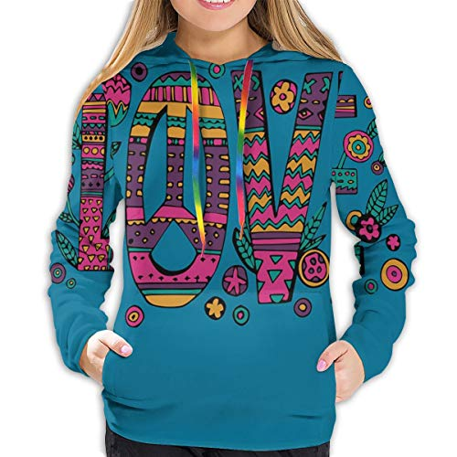 FULIYA Women's Hoodies Tops,Colorful Love Lettering with Flowers Ornaments and Hipster Motifs,Lady Fashion Casual Sweatshirt(S)