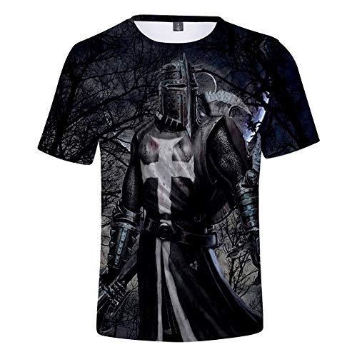 Templar Knight T-Shirt Unisex Kurzarm-Pullover Mittelalter Kreuzritter Cosplay 3D-bedrucktes T-Shirt Mit Rundhalsausschnitt