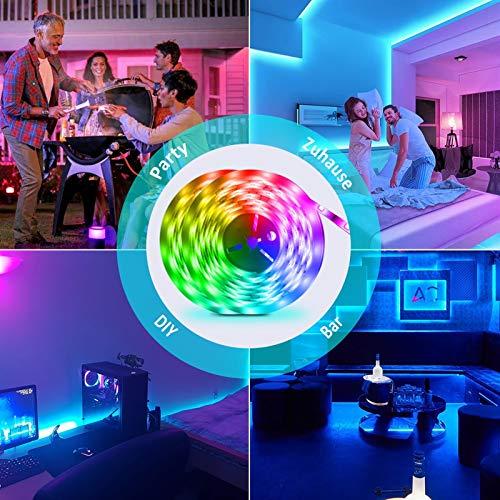WRQING Bluetooth Tiras LED Musical, 5050 RGB Tiras de Luces LED Iluminación Control de APP y de Control Remoto, Función Musical, Horario Personal, Impermeable, 12V Adaptador (Size : 30M)